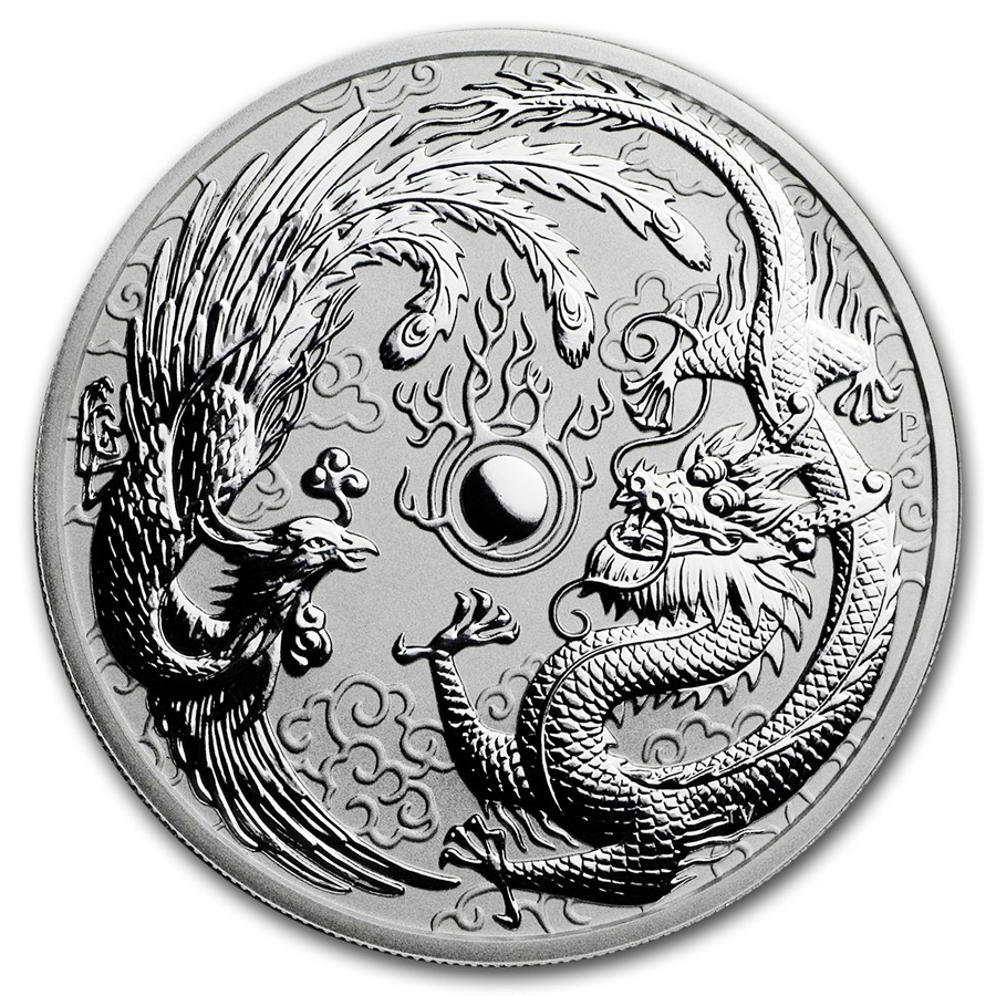 2017 1 Oz Australia Dragon And Phoenix 9999 Silver Coin