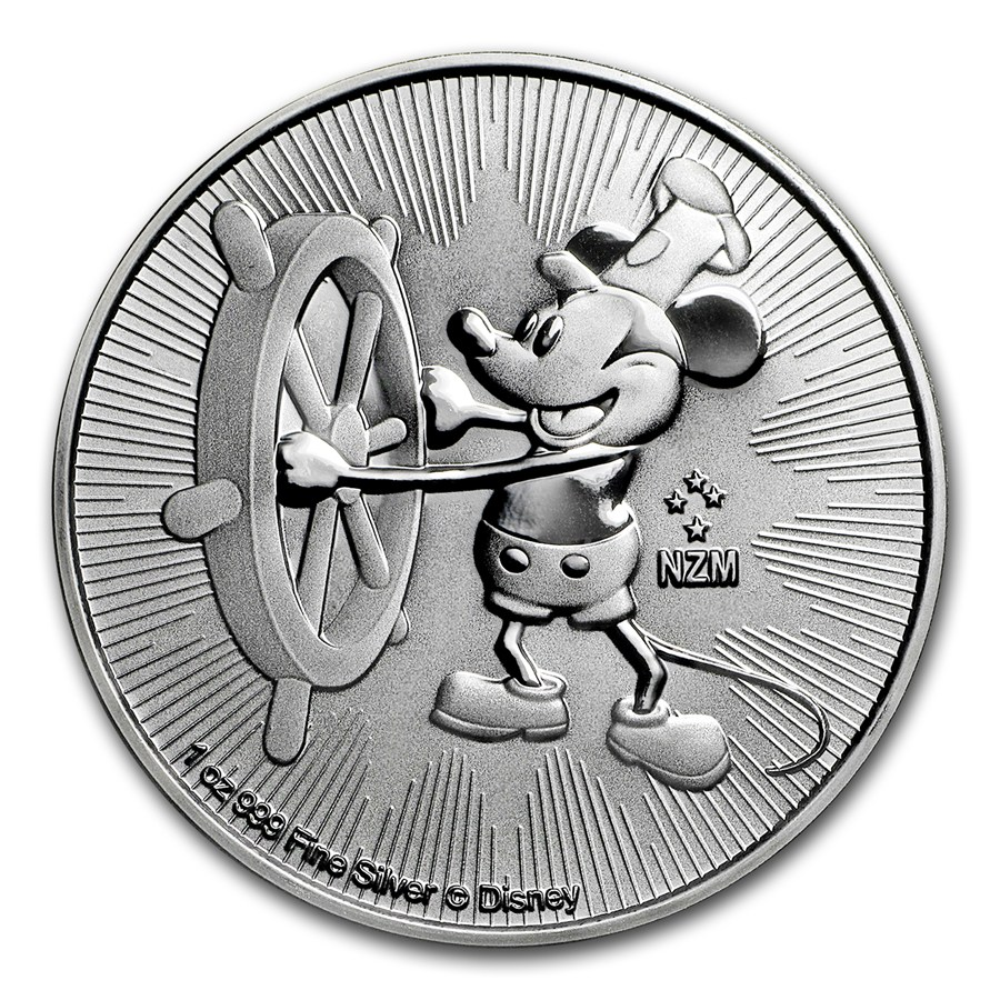 2017 1 Oz Niue Disney Steamboat Willie 999 Silver Coin Bu