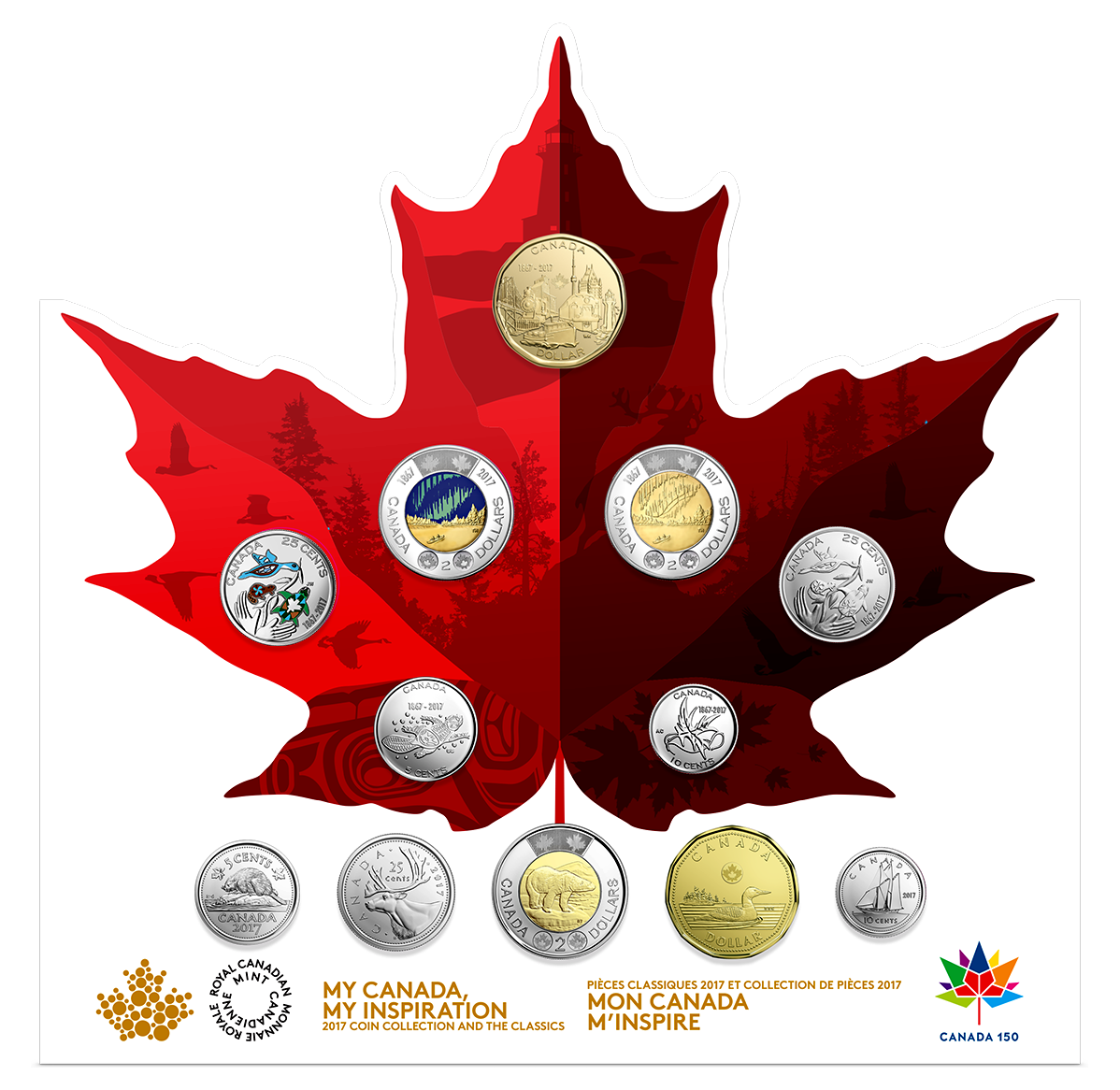 2017 Canada 150th Anniversary Celebration 12 Coins Circulation Collection Set With