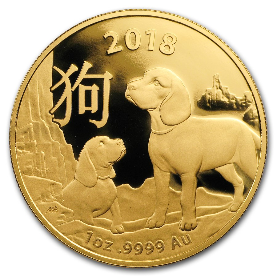 2018 1 Oz Australia Lunar Year Of The Dog 9999 Gold Coin
