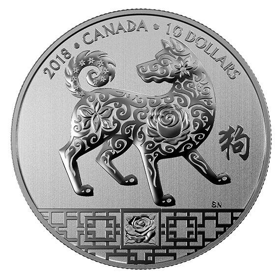 2018 1 2 Oz Canada Year Of The Dog 9999 Silver Proof Coin