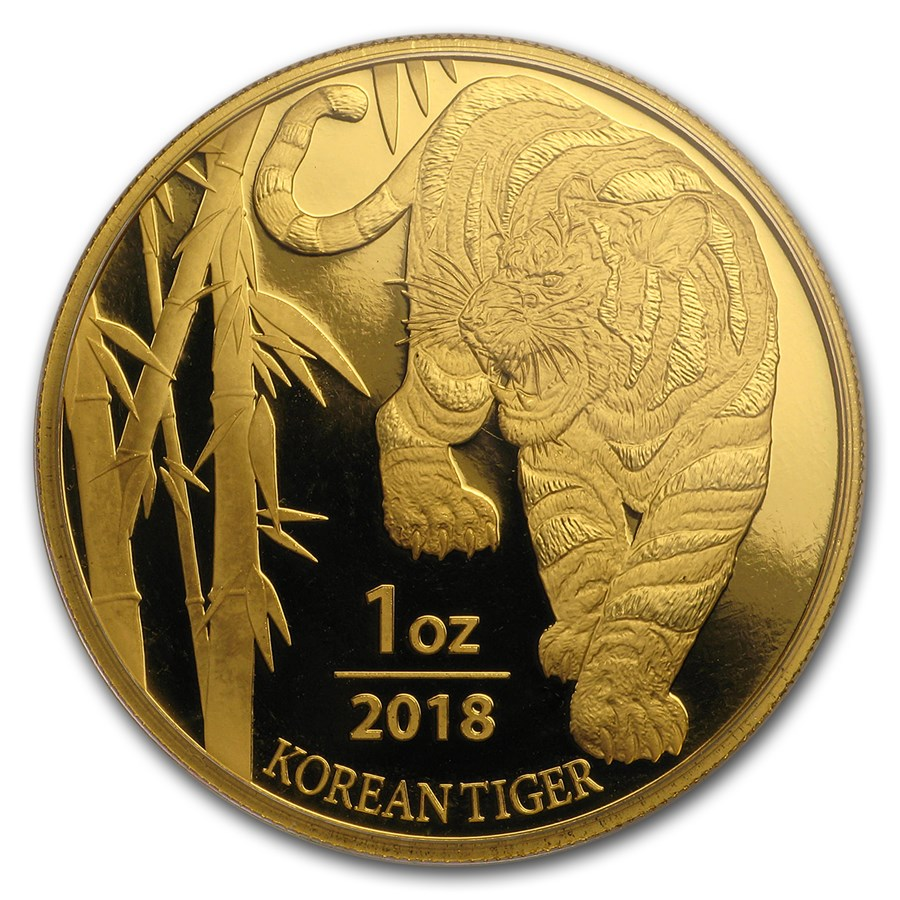 2018 1 Oz South Korea Tiger 9999 Gold Medal Bu Lpm