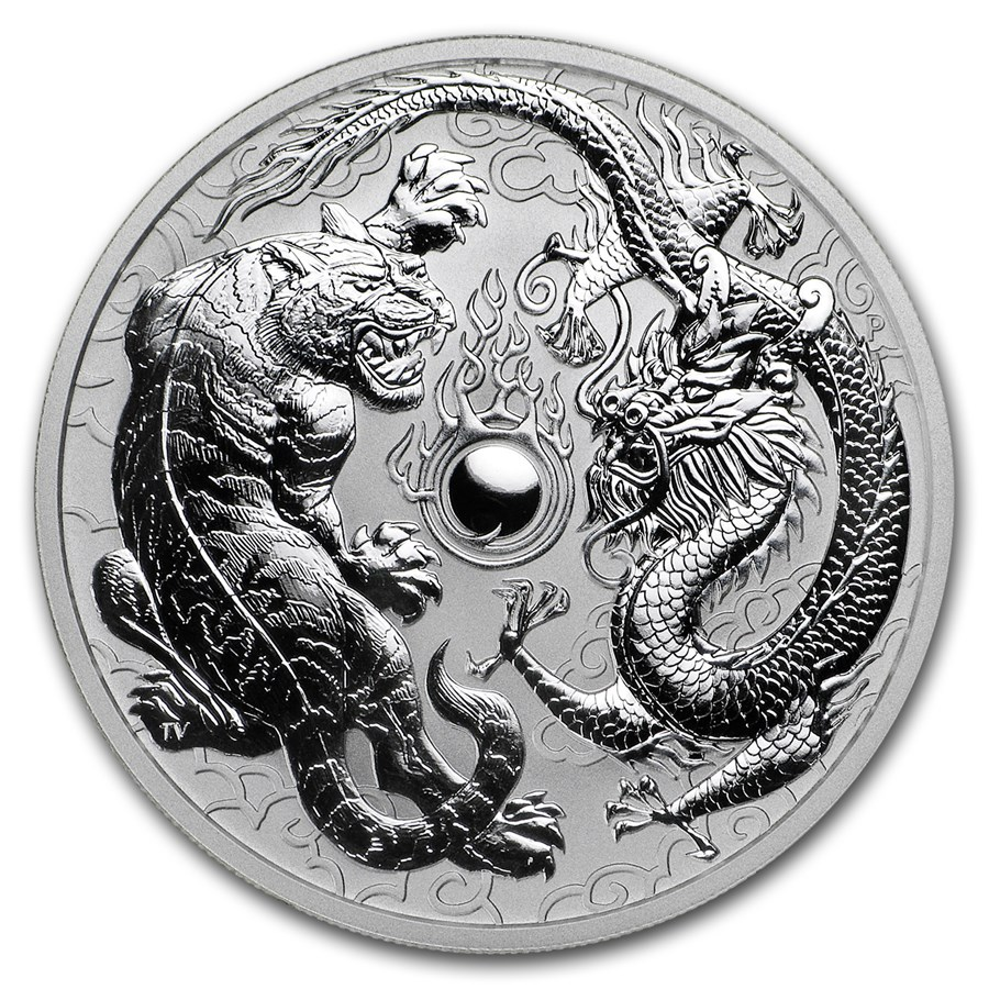2018 1 Oz Australia Dragon And Tiger 9999 Silver Coin Bu