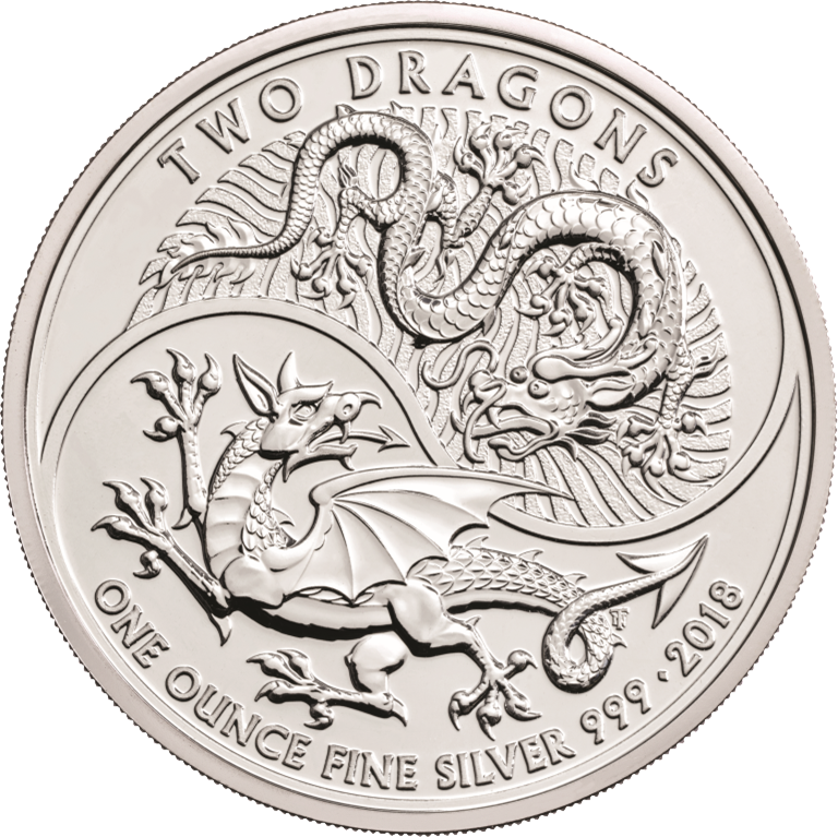 2018 1 Oz Great Britain Two Dragons 999 Silver Coin Bu Lpm