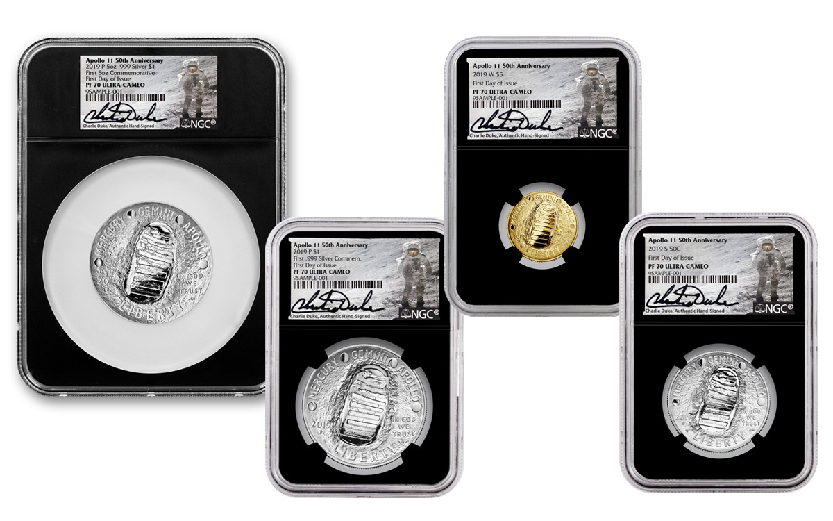 2019 United States Apollo 11 50th Anniversary 4 Coin Set (NGC PF70UC FDI -  Charlie Duke Signed Labels)