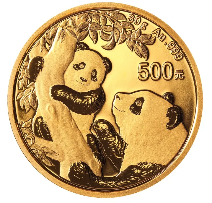 2021 30 gram China Panda 999 Gold Coin BU