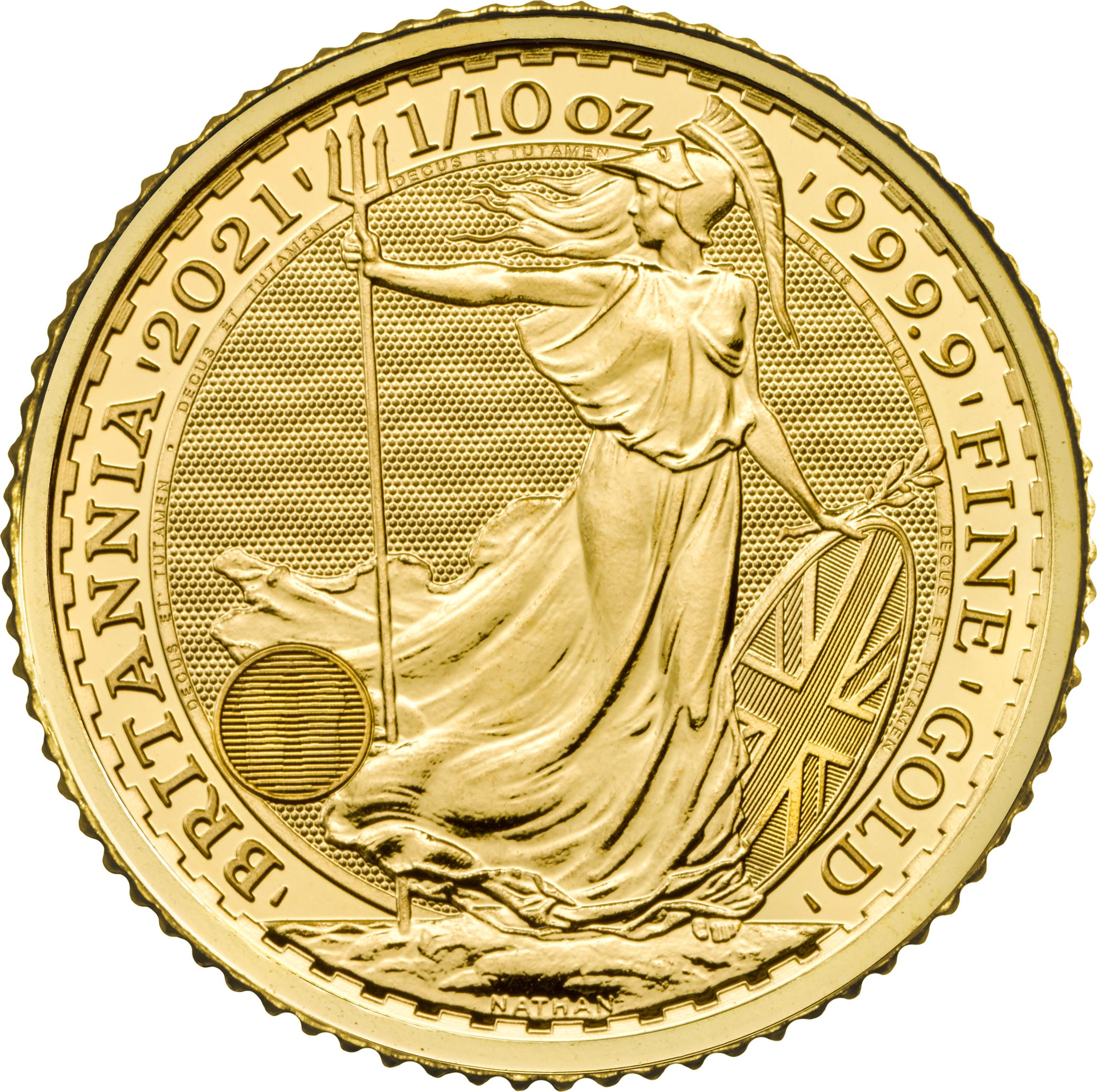 2021 1/10 oz Great Britain Britannia .9999 Gold Coin BU