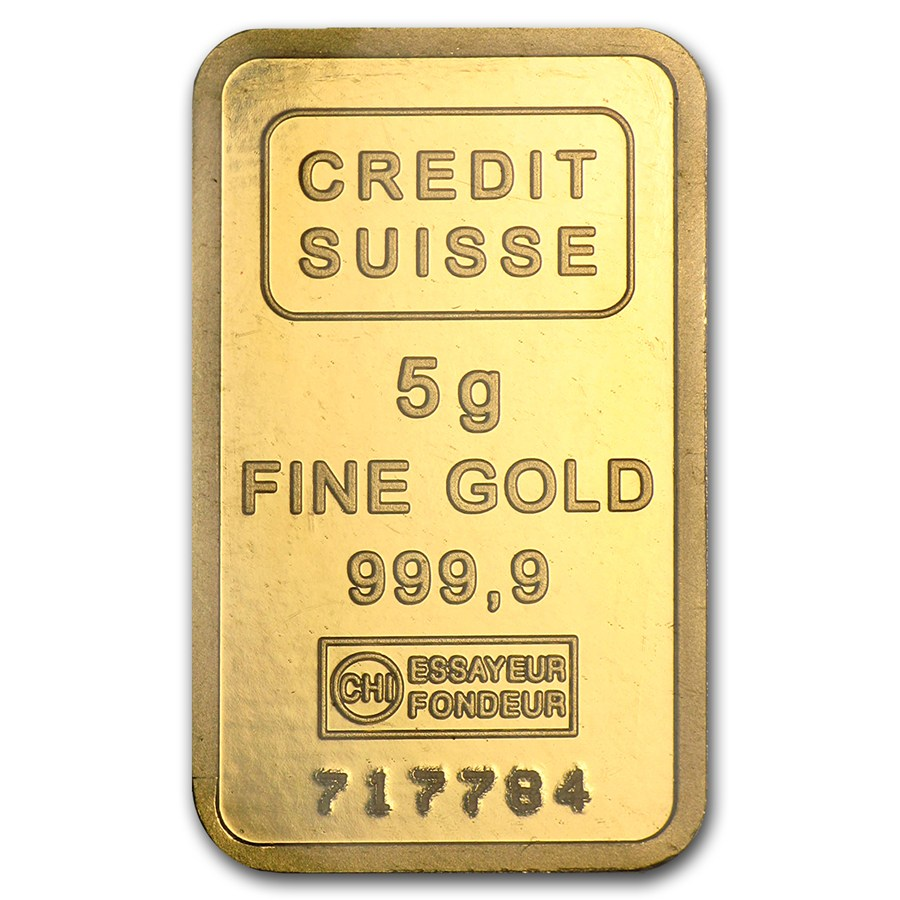 5 Gram Credit Suisse 9999 Gold Bar Lpm