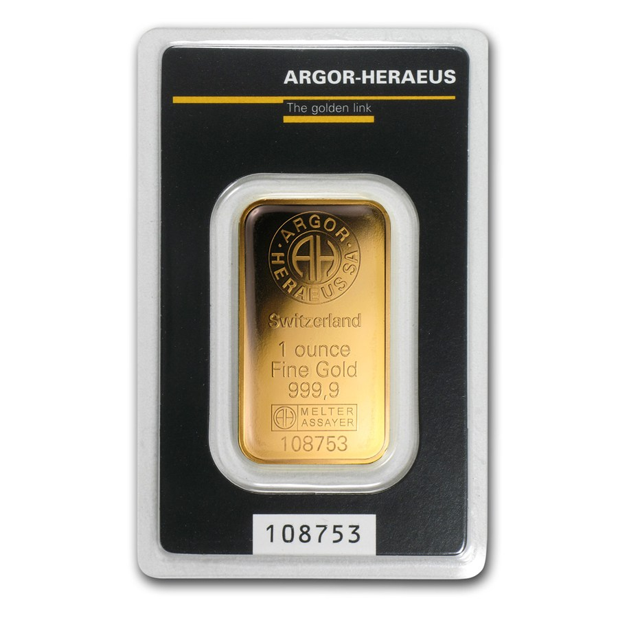 1oz Argor Heraeus 9999 Gold Kine Bar Lpm