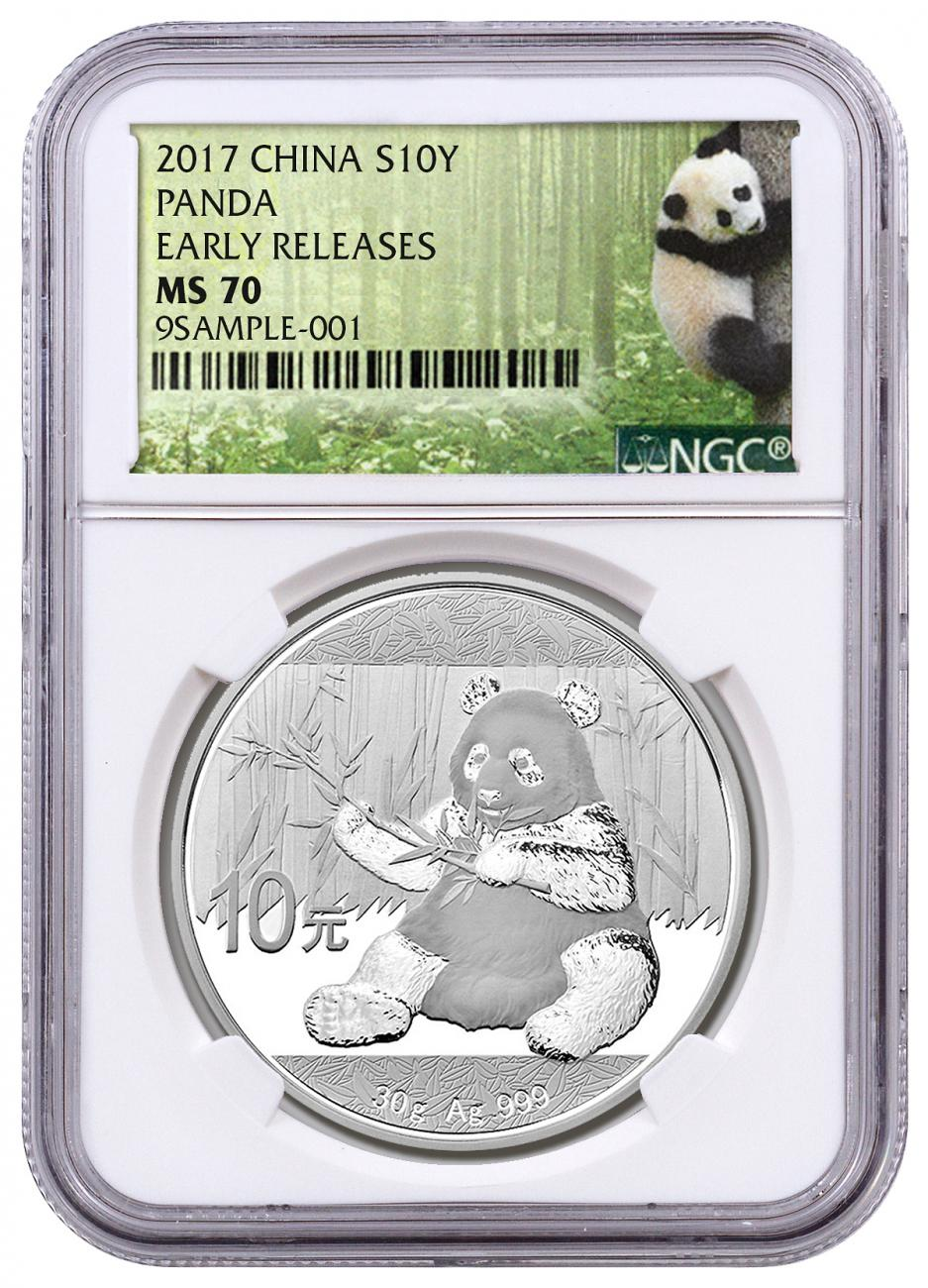 2017 30 Gram China Panda 999 Silver Coin Bu Ngc Ms70
