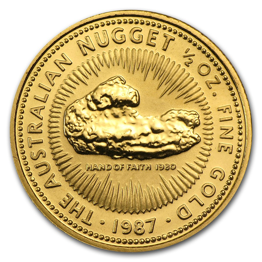 1987 1 2 Oz Australia Nugget 9999 Gold Coin Lpm