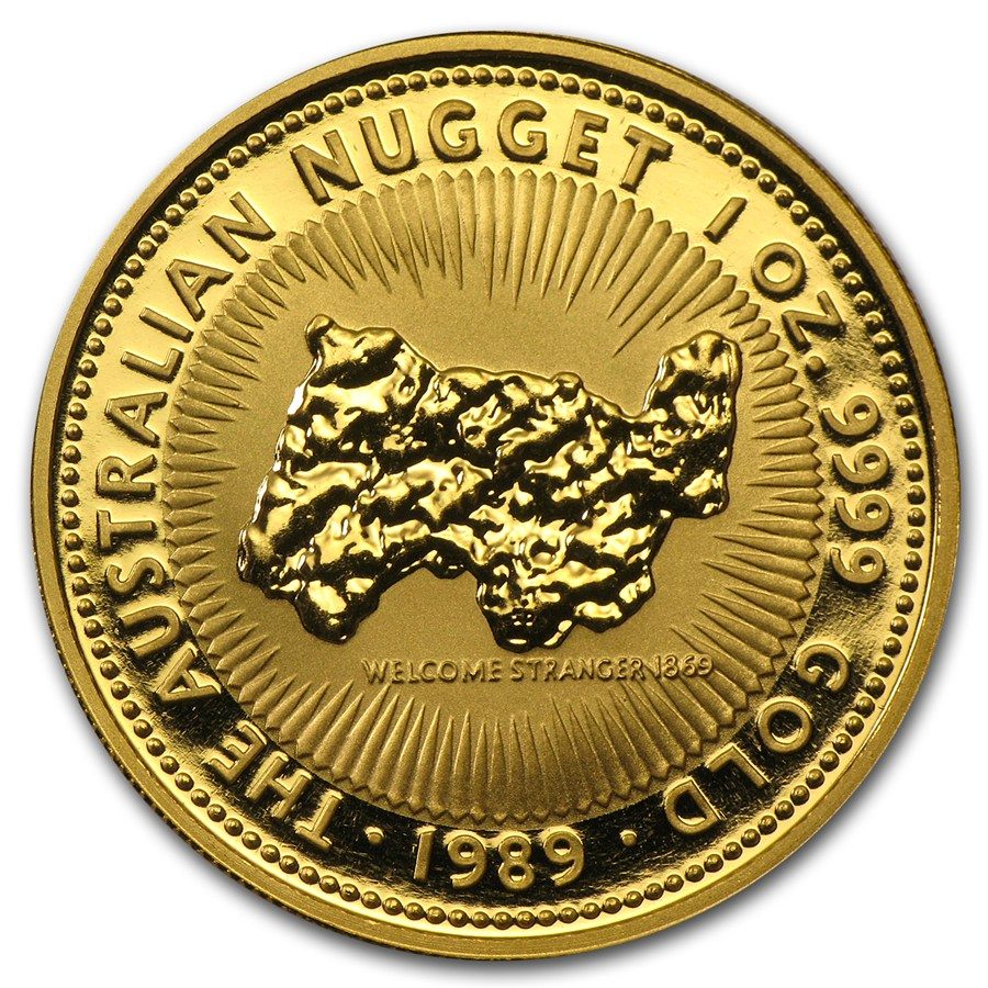 1989 1 Oz Australia Nugget 9999 Gold Coin Lpm