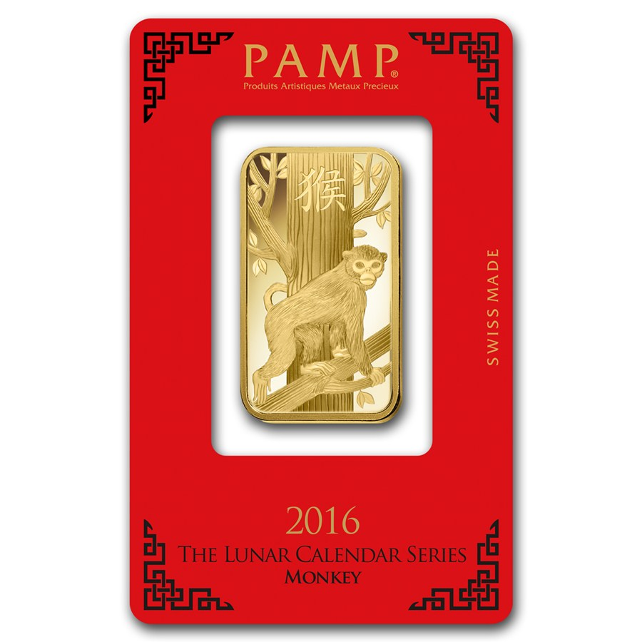 2016 1 Oz Pamp Suisse Lunar Monkey 9999 Gold Bar In
