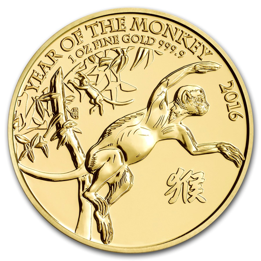 2016 1oz Great Britain Year Of The Monkey 9999 Gold Coin