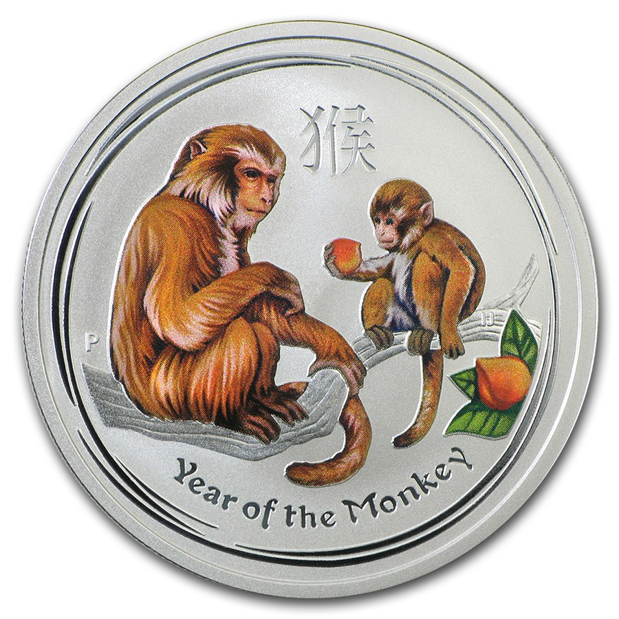 2016 1 2 Oz Australia Lunar Monkey Colorized 999 Silver
