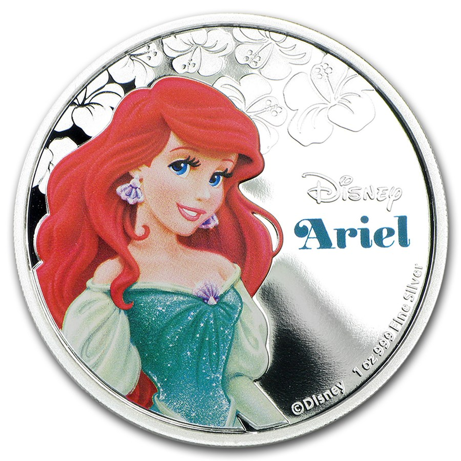 2015 1oz Niue Disney Princess Ariel 999 Silver Proof