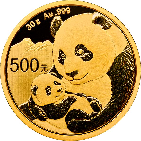 2019 30 gram China Panda 999 Gold Coin BU