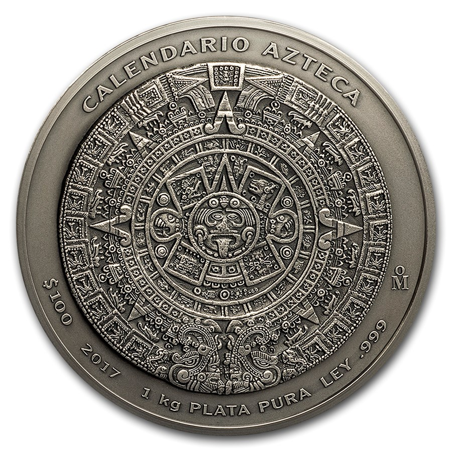 2017 1 Kg Mexico Aztec Calendar 999 Silver Antique Coin Lpm