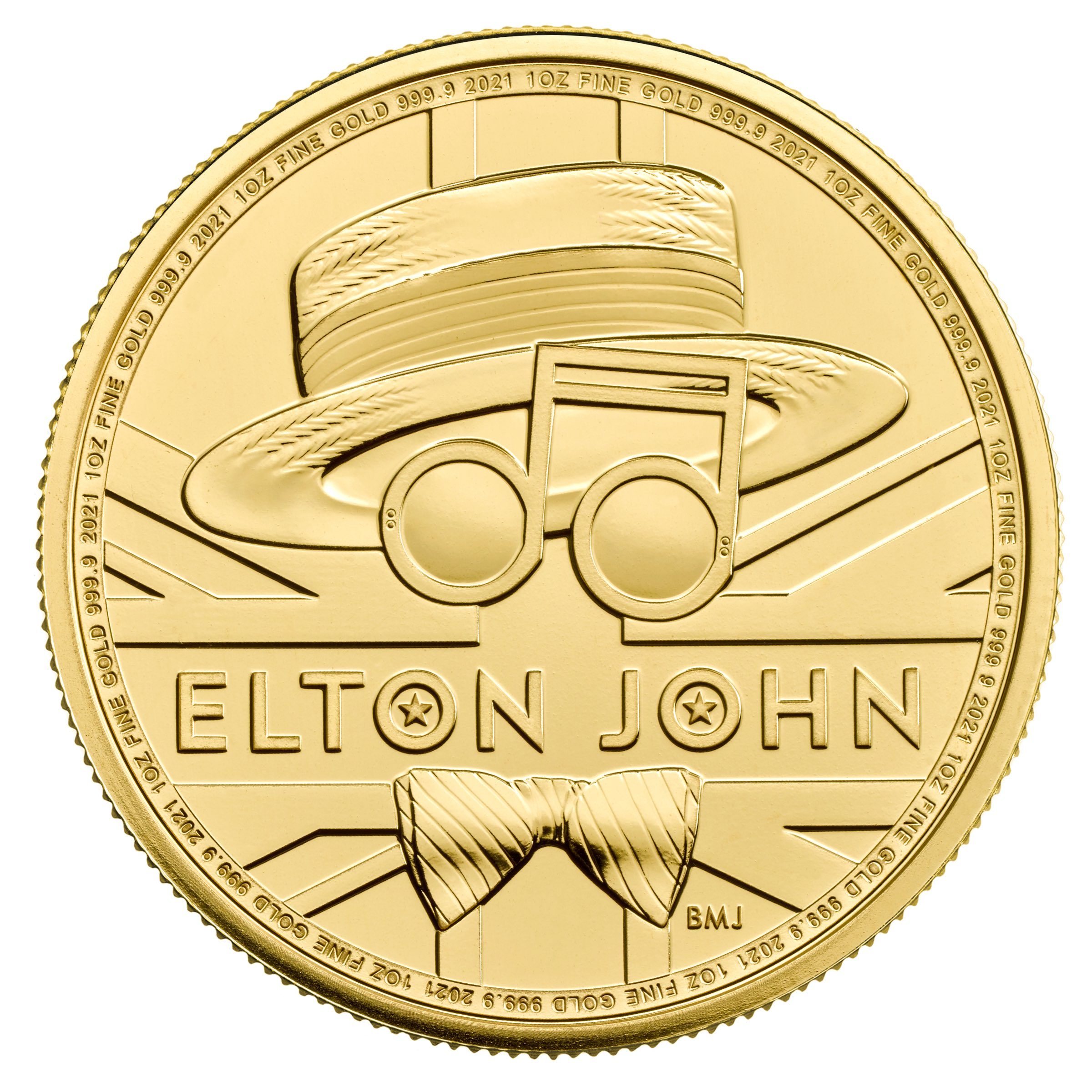 2021 1 oz Great Britain Music Legends - Elton John .9999 Gold Coin BU