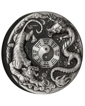 2021 2 oz Tuvalu Dragon And Tiger With Bagua Silver Antiqued Proof Coin
