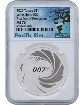 2020 1 oz Tuvalu James Bond 007 .9999 Silver Coin (NGC MS70 First Day of Production)