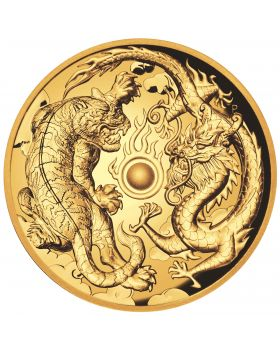 2018 2 oz Australia Dragon and Tiger 9999 Gold High Relief Proof Coin LOW RES