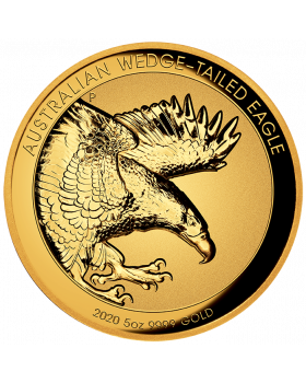 2020 5oz Australia Wedge-Tailed Eagle 9999 Gold Proof Incused High Relief Coin