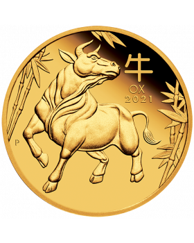 2021 1/4 oz Australia Lunar Series III - Year of the Ox .9999 Gold Proof Coin