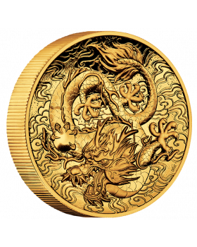 2021 2 oz Australia Chinese Myths and Legends - Dragon .9999 Gold High Relief Proof Coin