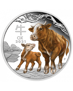 2021 1 oz Australia Lunar Series III - Year of the Ox 9999 Silver Proof Coloured Coin