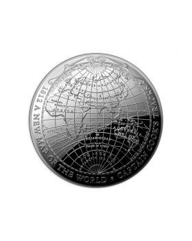 2019 1 oz Australia 1812 A New Map Of The World .999 Silver Proof Domed Coin