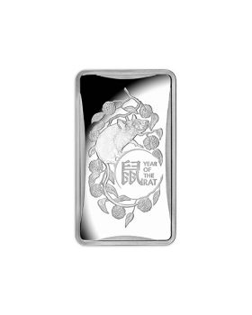 2020 1/2oz Australia Lunar Year of the Rat .999 Silver Ingot Frosted Uncirculated Coin