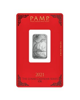 2021 10 gram PAMP Suisse Lunar Year of the Ox .999 Silver Bar