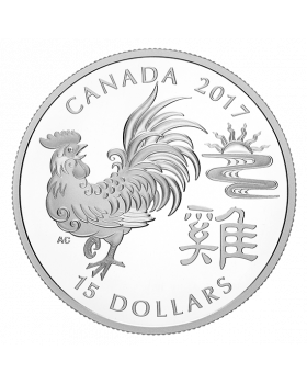 2017 1oz Canada Lunar Year of Rooster .9999 Silver Proof Coin