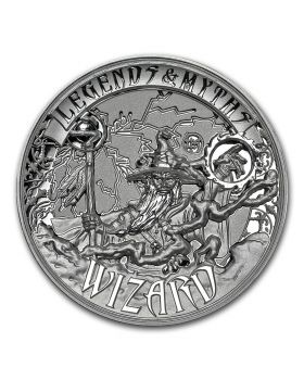 2017 2 oz Solomon Island Legends and Myths - Wizard .999 Silver High Relief Coin