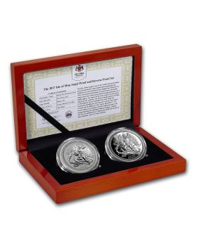 2017 1 oz Isle of Man Angel .999 Silver Proof 2 Coin Set