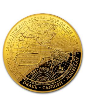 2018 1 oz Australia 1626 A New Map of The World .9999 Gold Proof Domed Coin