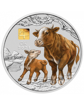 2021 1 kg Australia Lunar Series III Year of the Ox .9999 Silver Silver Coin With Gold Privy Mark
