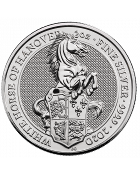 2020 2 oz Great Britain The Queen's Beasts The White Horse of Hanover .9999 Silver Coin (Scratches)