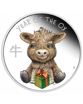 2021 1/2 oz Tuvalu Baby Ox .9999 Silver Colored Proof Coin