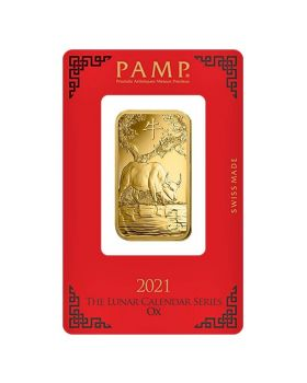 2021 1 oz Pamp Suisse Lunar Year of the Ox .9999 Gold Bar