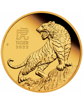 2022 1/4oz Australia Lunar Series III - Year of the Tiger .9999 Gold Proof Coin