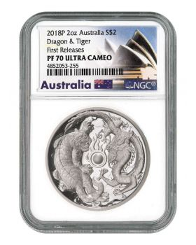 2018 2 oz Australia Dragon and Tiger .9999 Silver High Relief Proof Coin (NGC First Release PF70)