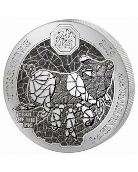 2019 1 oz Rwanda Year of the Pig .999 Silver Proof Coin