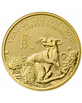 2020 1 oz Great Britain Lunar Year of the Rat .9999 Gold Coin BU