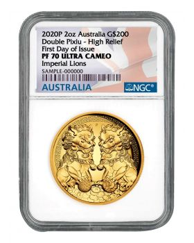 2020 2 oz Australia Guardian Lions (Double Pixiu) .9999 Gold High Relief Proof Coin (NGC PF70 First Day of Issue)