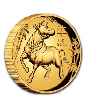 2021 1 oz Australia Lunar Series III - Year of the Ox .9999 Gold Proof High Relief Coin