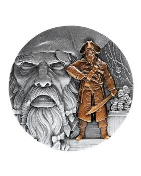 2021 2oz Chad Pirates Ahoy Series - Blackbeard .999 Silver Antique  High Relief Coin - Gilded Finish