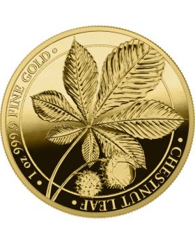 2021 1oz Mythical Forest Series -Chestnut Leaf .9999 Gold Proof Round