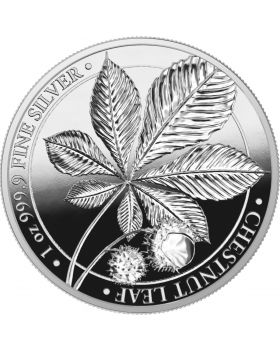 2021 1oz Mythical Forest Series  -Chestnut Leaf .9999 Silver Proof Round